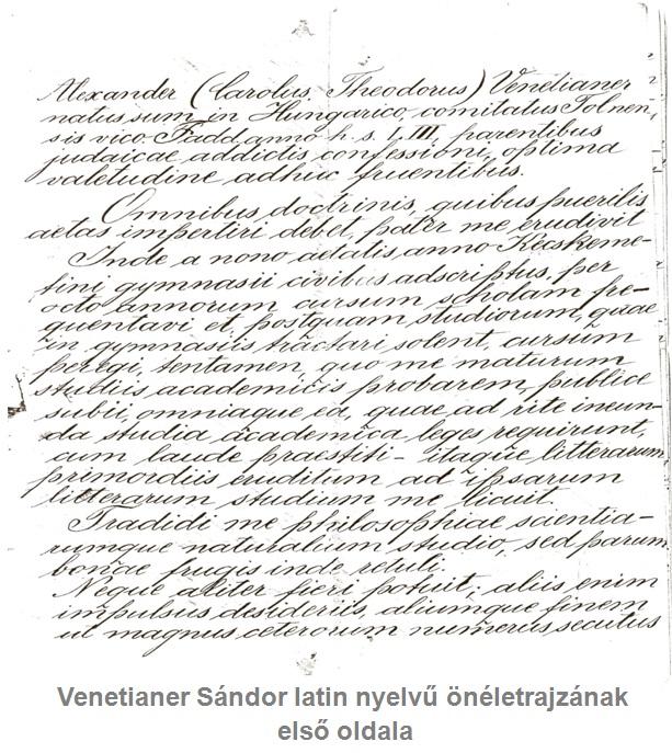 önéletrajz latinul Venetianer Sándor latin nyelvű önéletrajzának fordítása | önéletrajz latinul